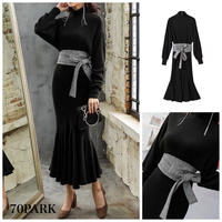 #Belted High Neck Knit  Dress  グレンチェックベルト付 マーメイドライン ニット ワンピース