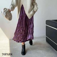 #Velvet Pleat Midi Skirt  ベロア シワ加工 ミディ丈 スカート 全3色
