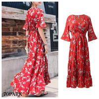 #Floral Short Sleeve Maxi Dress 小花柄 半袖 ロングフレア ワンピース レッド