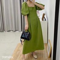 #Puff Sleeve Long Dress ボリューム袖 ロング フレア ワンピース グリーン