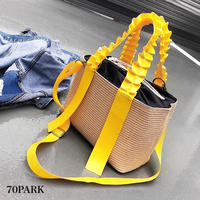 #2way Gathered Handle Basket Bag ギャザーハンドル カラー かごバッグ 全4色 ショルダーバッグ