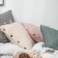 #シャーベットカラー ケーブル編み ニット クッションカバー 全4色