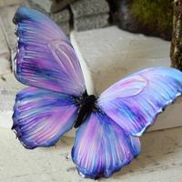 蝶のマグネット メネラウスモルフォ lavender.md+Pearlblue Msize(裏面特殊)