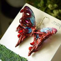 蝶のピアス メネラウスモルフォ ターコイズ死線鉱石 2Ssize(片耳用)①