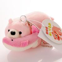 北海道名物 鮭喰熊 ぬいぐるみ ピンク ミニ キーホルダー キーチェーン 木彫り熊ぬいぐるみ