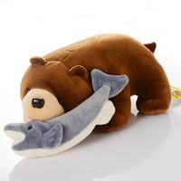 北海道名物 鮭喰熊 ぬいぐるみ 木彫り熊ぬいぐるみ