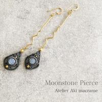 【マクラメジュエリー】月の光を宿す天然石 ムーンストーン / ロングピアス