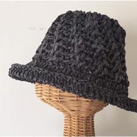 sale★送料込み 和紙糸で編むななめ模様の帽子-編み図糸つきキット
