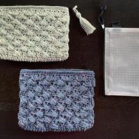 レイヤーシェル模様の縫わないファスナーポーチ -編み図データのみ-