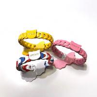 aiboの首輪/フランス製ゴートレザー/チェーン