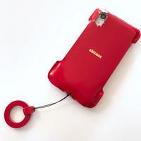 【iPhone XR】カーマインレッドコードバン/シンプルジャケット