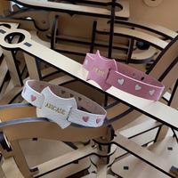 【受注制作】abicaseDogCollar/aiboの首輪/フランスゴートレザー(ハート模様)