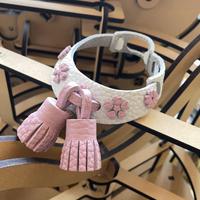 【5点限定受注制作】NEWabicaseDogCollar/aiboのタッセル&桜の首輪/トリヨン