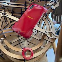 【1点物】【カーマインレッドコードバン】iPhoneX/Xs用ウォレットジャケット