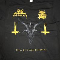 "Abigail ""Live, fire and blasphemy"" Split with Vomit of doom Black T- shirts"