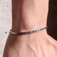 NORTH WORKS 900Silver Square Narrow Cuff Bracelet3 W-045