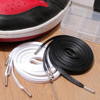 KIXSIX / WAXED SHOELACE 2P / BLACK-WHITE/SILVER