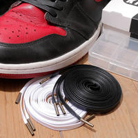 KIXSIX / WAXED SHOELACE 2P / BLACK-WHITE/ANTIQUE GOLD