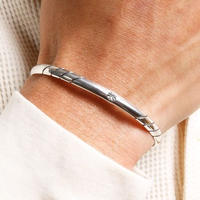 NORTH WORKS Stamped 900Silver super narrow 2 Cuff Bracelet 2 W-015