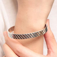 NORTH WORKS 900Silver Stamp Cuff STRIPE W-037