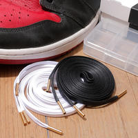 KIXSIX / WAXED SHOELACE 2P / BLACK-WHITE/GOLD