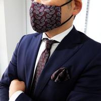 父の日マスク+ネクタイ+チーフ3点セット ペイズリー柄レッド(洗濯用ネット付)