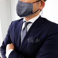 父の日マスク+ネクタイ+チーフ3点セット 水玉ストライプ柄(洗濯用ネット付)
