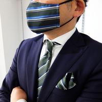 父の日マスク+ネクタイ+チーフ3点セット ストライプ柄B(洗濯用ネット付)