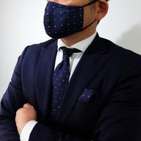 父の日マスク+ネクタイ+チーフ3点セット 水玉柄(洗濯用ネット付)