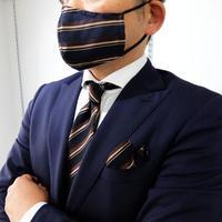 父の日マスク+ネクタイ+チーフ3点セット ストライプ柄A(洗濯用ネット付)