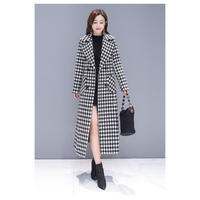 千鳥格子柄コート ロングチェスターコート レディース 超ロングコート 大きいサイズ 秋冬 チェック 韓国 ファッション K30008