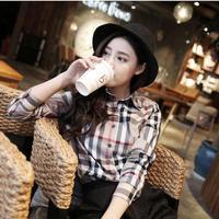 チェック柄長袖シャツ 韓国ファッション オルチャン タータンチェック【T3016】