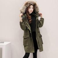 モッズコート レディース 大きいサイズ 女性用 ファー フード付 ミリタリーコート 韓国ファッション秋冬 K30070