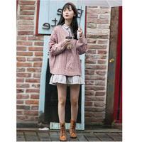 ケーブル編みニット×ロングシャツワンピースセットアップ セーター オルチャン 韓国 ファッション U30018