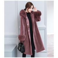 ファー付ロングコート レディース 超ロングコート 超ロング丈コート ファー付 黒 2XL 3XL 韓国 ファッション K30014