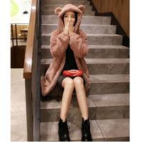 ボアコート アウター レディース ふわふわ 無地 シンプル 暖か コート ボアパーカー 耳付 韓国 ファッション K30052