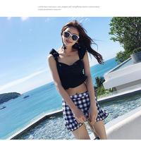 水着 レディース 体型カバー ママ タンキニ チェック柄 可愛い 韓国ファッション オルチャン M10104