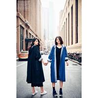 デニムジャケット ロングコート フード アウター ネイビー オルチャン 韓国 ファッション K3011