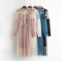 シースルー刺繍レースレトロロングワンピース ドレス インナーキャミソールセット オルチャン 韓国 ファッション W3020