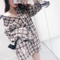 チェック柄ツイード長袖シャツチュニック オーバーサイズ オルチャン 大人かわいい 韓国 ファッション T3015