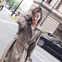 チェック柄ロングトレンチコート♪バックルベルト タータンチェック オルチャン 韓国 ファッション K3005