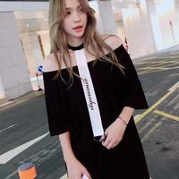 チョーカー風ベルト オフショルロングTシャツワンピース 夏 肌見せ セクシー かわいい オルチャン 韓国 ファッション W2001