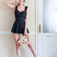 ブラックワンピース水着 フレアスカート リボン シンプル オルチャン 韓国 ファッション M30014