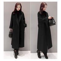 ロングチェスターコート レディース 超ロングコート 大きいサイズ 2XL 3XL 秋冬 韓国 ファッション K30011
