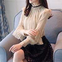 清楚女子*゜フリルハイネックブラウス 長袖 春秋 デート 男子ウケ 上品 オルチャン 韓国 ファッション T2037