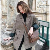 グレンチェック柄ジャケット レトロ 秋冬 アウター 羽織り トレンド 大きいサイズ オルチャン 韓国 ファッション C2006