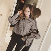 グレンチェック柄バルーンスリーブシャツ リボン ブラウス 大きいサイズ オルチャン 韓国 ファッション T3040
