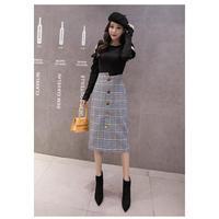 グレンチェック柄ハイウエストフロントボタンタイトスカート オルチャン 韓国 ファッション S30048
