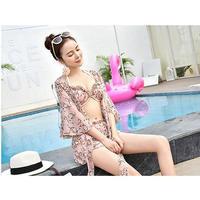 ピンク花柄フリルビキニxガウンセット フラワー 大人かわいい 水着 オルチャン 韓国 ファッション M30021