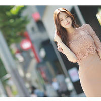 レース&シースルータイトスカートワンピース オルチャン 結婚式や二次会にも 韓国 ファッション W3001